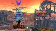 Donkey Kong siendo agarrado por el Jefe Galaga SSB4 (Wii U)