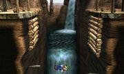 Luigi cayendo al vacío en el Valle Gerudo SSB4 (3DS)