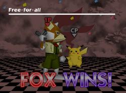 Pose de victoria de Fox (3-2) SSB