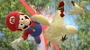 Mario siendo atacado por unos Cucos SSB4 (Wii U)