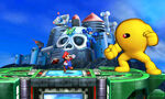Mario y Mega Man junto con Yellow Devil en el Castillo de Wily SSB4 (3DS)