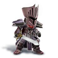 Artwork del Espadachín Mii con el yelmo y la armadura del Caballero Negro