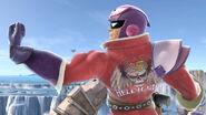 Captain Falcon posando en el Campo de batalla SSBU