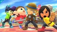 El Aldeano junto a los Combatientes Mii en Sobrevolando el pueblo SSB4 (Wii U)
