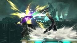 Alcance del ataque Smash hacia arriba de Cloud SSB4 (Wii U)