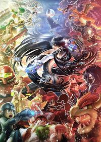 Ilustración promocional de Bayonetta SSB4