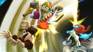 Keldeo atacando a Donkey Kong y al Rey Dedede SSB4 (Wii U)