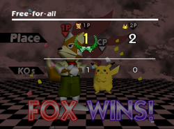Pose de victoria de Fox (1-2) SSB