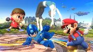 La Entrenadora de Wii Fit junto al Aldeano, Mega Man y Mario SSB4 (Wii U)