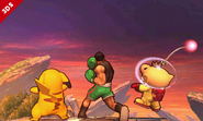 Little Mac junto a Pikachu y Olimar en SSB4 (3DS)