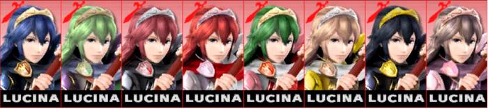 Paleta de colores de Lucina SSB4 (3DS)