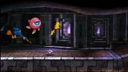 Pikachu junto a Kamek y un Monóculus en el Smashventura