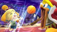 Canela lanzándole una fruta al Rey Dedede SSB4 (Wii U)