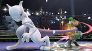 Mewtwo usando su ataque fuerte lateral contra Little Mac en el Cuadrilátero SSb4 (Wii U)