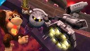 R.O.B., Meta Knight y Donkey Kong en el Hal Abarda SSB4 (Wii U)