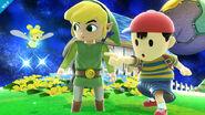 Ness y Toon Link en Galaxia Mario SSB4 (Wii U)