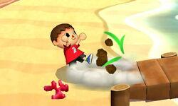 Ataque fuerte hacia abajo Aldeano SSB4 (3DS)