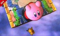 Pikachu cayendo al vacío y Kirby haciendo una burla SSB4 (3DS)