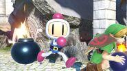 Bomberman y Young Link en Templo SSBU