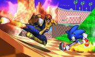 Captain Falcon y Sonic en la Zona Green Hill SSB4 (3DS)