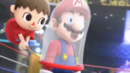 Aldeano atrapando a Mario con su red Trailer Wii U SSB4