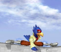Ataque Smash hacia abajo de Falco SSBM