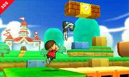El Aldeano y la Entrenadora de Wii Fit en Super Mario 3D Land SSB4 (3DS)