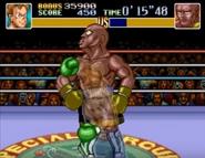 Little Mac dando el golpe directo en Super Punch-Out!!