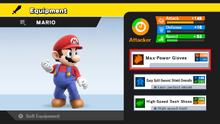 Menú de Equipamento en SSB4 (Wii U)