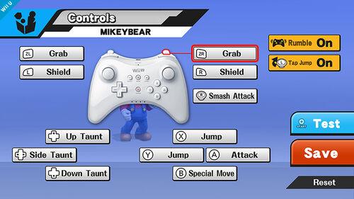 Pantalla de Controles (Wii U Pro Controller) SSB4 (Wii U)