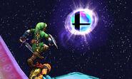 Link junto a una Bola Smash SSB4 (3DS)