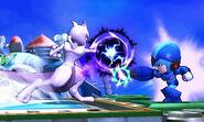 Mewtwo y Tirador Mii con el atuendo de Mega Man X en el Castillo de Wily SSB4 (3DS)