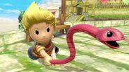 Lucas usando la Cuerda Serpiente SSBU