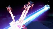 Lunala atacando a Fox, Samus y Palutena SSBU