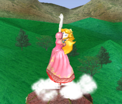Ataque Smash hacia arriba de Peach SSBM