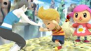 La Entrandora Wii Fit, Lucas y Aldeana en Reino Champión U SSB4 (Wii U)