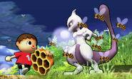 Mewtwo y el Aldeano en Llanuras de Gaur SSB4 (3DS)