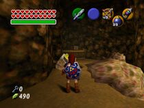 Link siendo atacado por tres Like Like en The Legend of Zelda Ocarina of Time