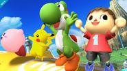 Yoshi junto a otros personajes haciendo sus burlas SSB4 (Wii U)