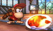 Diddy Kong junto a un Curry Superpicante SSB4 (3DS)