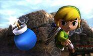 Toon Link lanzando una bomba en el Desierto Gerudo SSB4 (3DS)