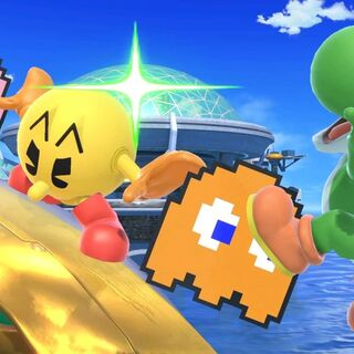 Pac-Man usando su <a href=