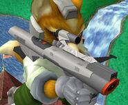 Fox sosteniendo una Nintendo Scope SSBM