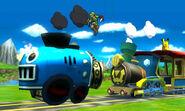 Link y Pikachu en el escenario Tren de los Dioses - (SSB. for 3DS)