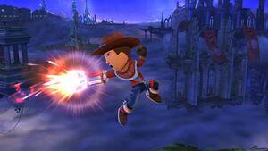 Ataque aéreo hacia atrás Tirador Mii SSB4 Wii U