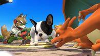 Fox y Charizard junto al Nintendog SSB4 (Wii U)