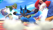 Lucario usando su ataque Smash hacia abajo en SSB4 (Wii U)