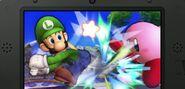 Luigi y Kirby en campo de batalla SSB4 (3DS)