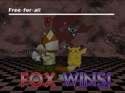 Pose de victoria de Fox (2-2) SSB