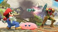 Kirby esquivando el misil de Samus SSB4 (Wii U)